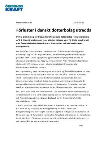 Förluster i danskt dotterbolag utredda