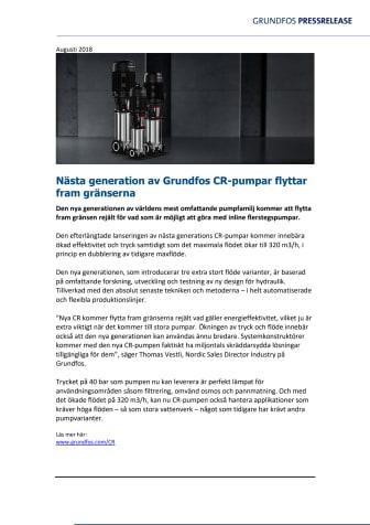 Nästa generation av Grundfos CR-pumpar flyttar fram gränserna