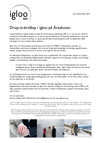 Drop-in-bröllop i igloo på Åreskutan