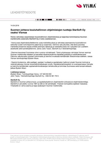 Suomen johtava kouluhallinnon ohjelmistojen tuottaja StarSoft Oy osaksi Vismaa
