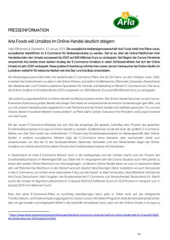 Arla Foods will Umsätze im Online-Handel deutlich steigern