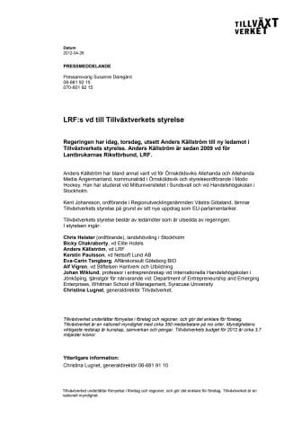 LRF:s vd till Tillväxtverkets styrelse
