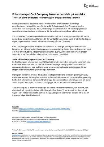 Nyhetstips - Frilansbolaget Cool Company lanserar hemsida på arabiska.pdf