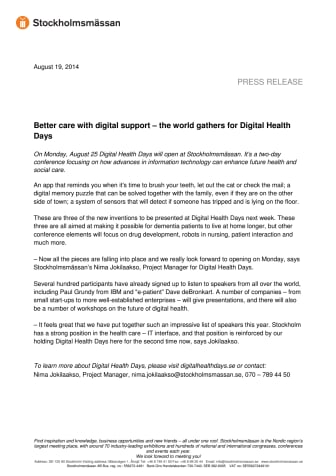 Better care with digital support – the world gathers for Digital Health Days
