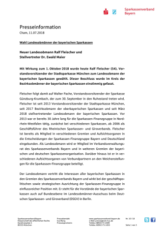 Wahl Landesobmänner der bayerischen Sparkassen - Neuer Landesobmann Ralf Fleischer und Stellvertreter Dr. Ewald Maier