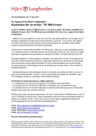 Ny rapport från Hjärt-Lungfonden: Kostnaden för en stroke: 741 000 kronor