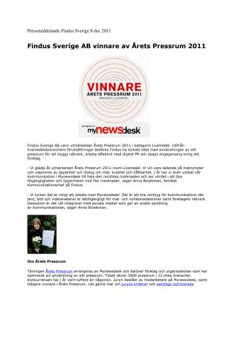 Findus Sverige AB vinnare av Årets Pressrum 2011