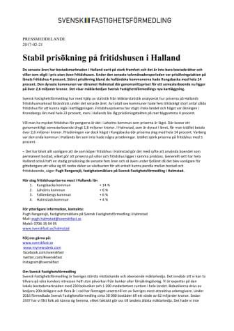 Stabil prisökning på fritidshusen i Halland