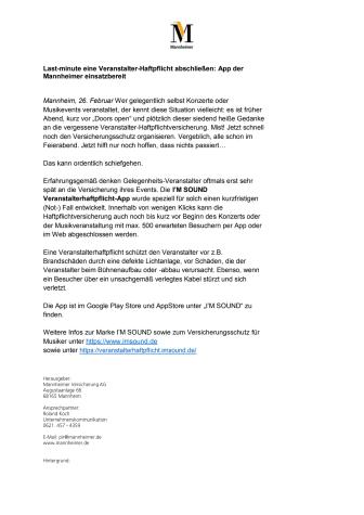 Last-minute eine Veranstalter-Haftpflicht abschließen: App der Mannheimer einsatzbereit