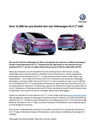 Over 15.000 har pre-booket den nye Volkswagen ID.3 1st elbil