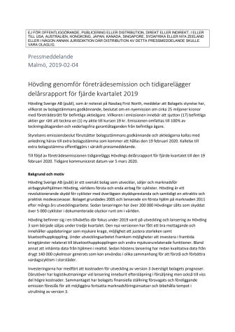 Hövding genomför företrädesemission och tidigarelägger delårsrapport för fjärde kvartalet 2019