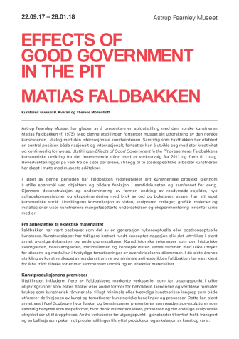 Pressemelding Matias Faldbakken - Effects of Good Government in the Pit