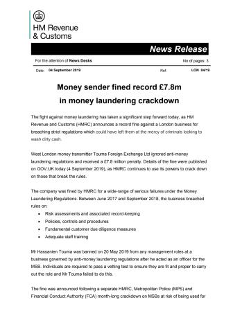 Money sender fined record £7.8m in money laundering crackdown