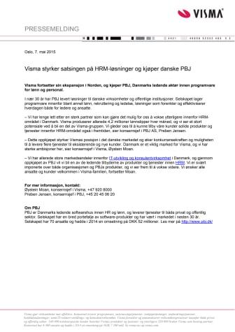 Visma styrker satsingen på HRM-løsninger og kjøper danske PBJ