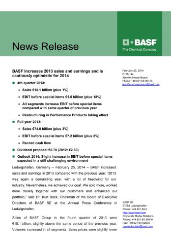 BASF ökar 2013 omsättnings- och resultattillväxt och är försiktigt optimistisk för 2014