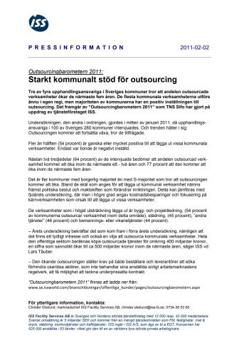 Outsourcingbarometern 2011: Starkt kommunalt stöd för outsourcing