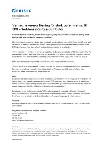 Verisec levererar lösning för stark autentisering till EDB – Serbiens största eldistributör