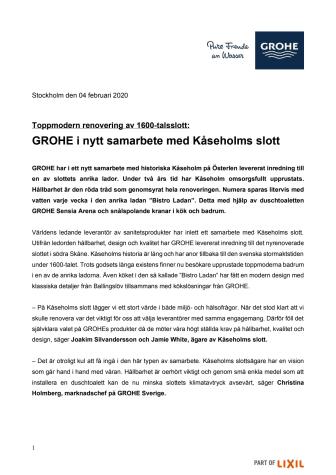 GROHE i nytt samarbete med Kåseholms slott