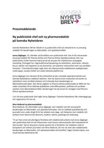 Ny publicistisk chef och ny pharmaredaktör på Svenska Nyhetsbrev