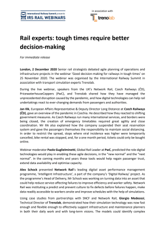 Rail experts: tough times require better decision-making