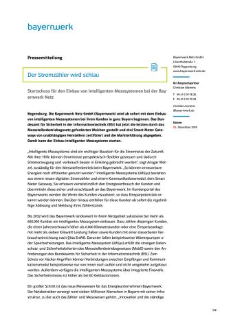 Der Stromzähler wird schlau - Bayernwerk startet Smart Meter-Einbau