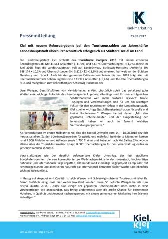 Kiel verzeichnet touristisches Rekordhalbjahr 2018