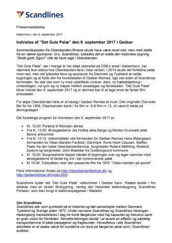 """Indvielse af """"Det Gule Palæ"""" den 9. september 2017 i Gedser"""