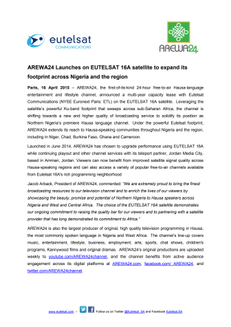 AREWA24 launches on EUTELSAT 16A satellite to expand footprint across Nigeria and surrounding regions