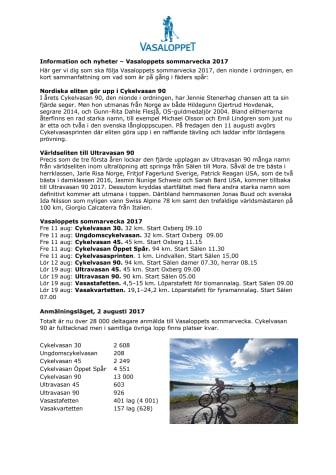 Information och nyheter sommarveckan 2017