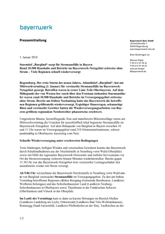 """Sturmtief """"Burglind"""" sorgt für Stromausfälle in Bayern"""