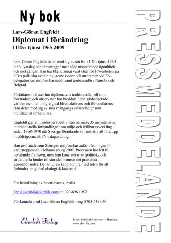 Ny bok: Diplomati i förändring - i  UD:s tjänst 1965-2009 av Lars-Göran Engfeldt