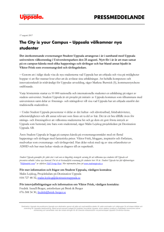 The City is your Campus – Uppsala välkomnar nya studenter