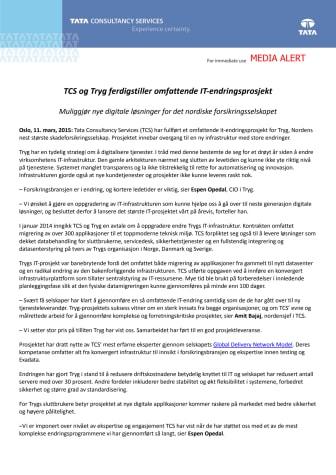 TCS og Tryg ferdigstiller omfattende IT-endringsprosjekt