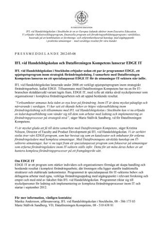 IFL vid Handelshögskolan och Dataföreningen Kompetens lanserar EDGE IT