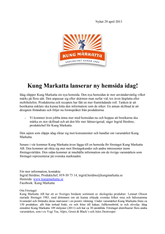 Kung Markatta lanserar ny hemsida!