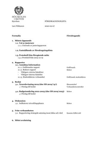 Föredragningslista för styrelsemöte , 7 februari 2020