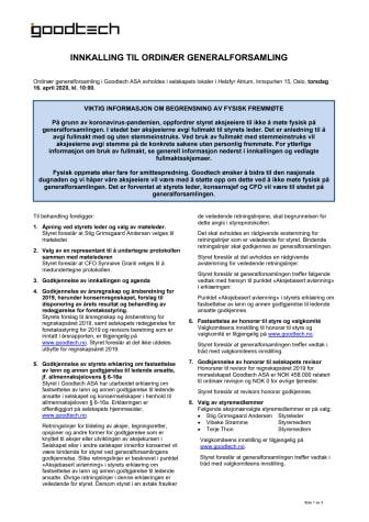 Innkalling til ordinær generalforsamling 16.04.2020
