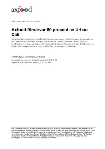 Axfood förvärvar 50 procent av Urban Deli