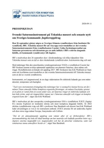 PRESSINBJUDAN_ Svenskt Saturnusinstrument på Tekniska museet och senaste nytt om Sveriges kommande Jupiteruppdrag  .pdf