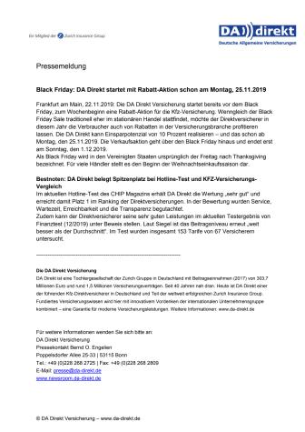 Black Friday: DA Direkt startet mit Rabatt-Aktion schon am Montag, 25.11.2019