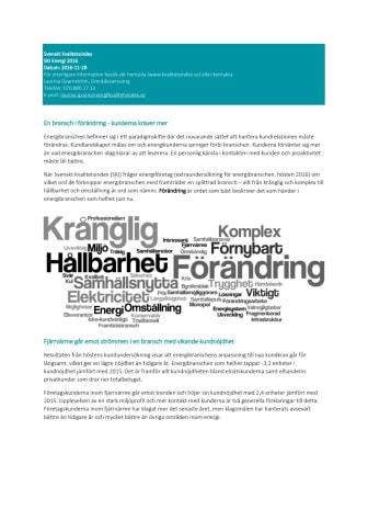 Svenskt Kvalitetsindex om Energibranschen 2016