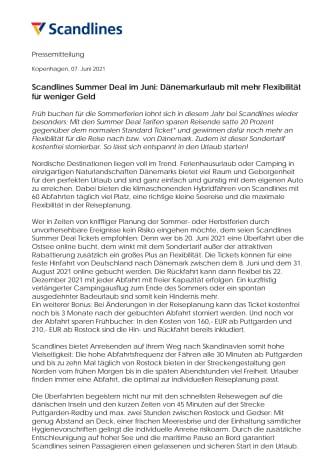 Scandlines Summer Deal im Juni: Dänemarkurlaub mit mehr Flexibilität für weniger Geld
