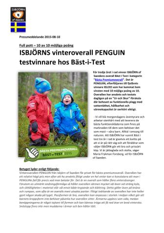 ISBJÖRNS vinteroverall PENGUIN testvinnare hos Bäst-i-Test - 10 poäng av 10 möjliga