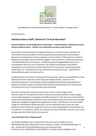 Pressemitteilung Glasfaserausbau im Kreis Warendorf