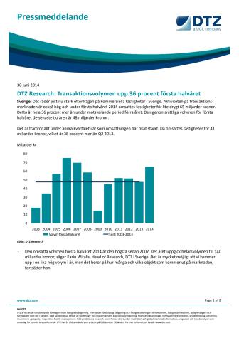 DTZ Research: Transaktionsvolymen upp 36 procent första halvåret
