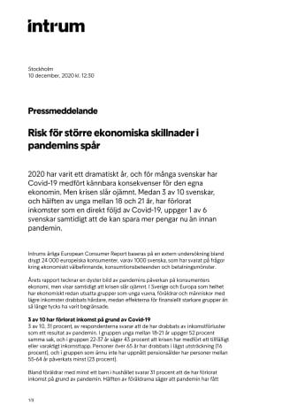 Risk för större ekonomiska skillnader i pandemins spår