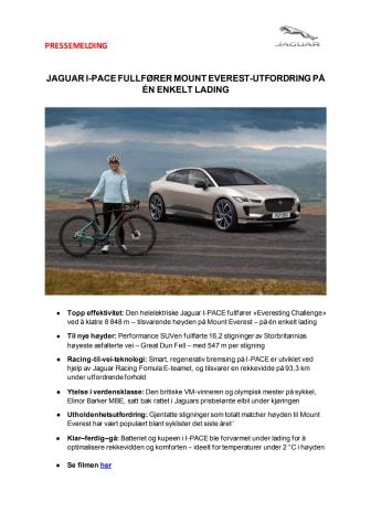 Jaguar I-PACE fullfører Mount Everest-utfordring på én enkelt lading med olympisk sykkelstjerne bak rattet