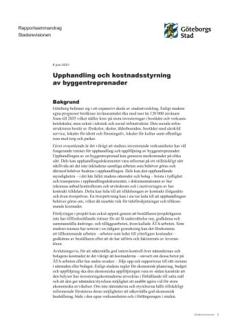 Rapportsammandrag – Upphandling och kostnadsstyrning av byggentreprenader