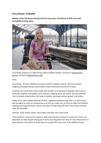 Fiona Bower - Access Advisory Panel member case study