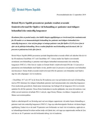 Bristol-Myers Squibb presenterar poolade resultat avseende femårsöverlevnad för Opdivo vid behandling av patienter med tidigare behandlad icke-småcellig lungcancer